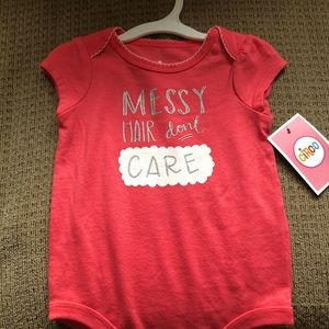Messy hair don't care baby onesie 3-6 months